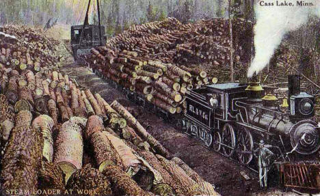 Logging Train, Cass Lake Minnesota, 1913