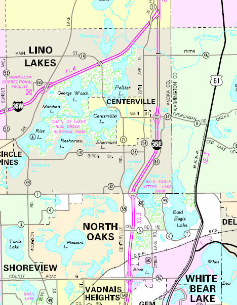 Minnesota State Highway Map of the Centerville Minnesota area