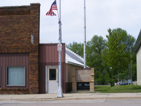 Museum and flag pole from old school, Ceylon Minnesota