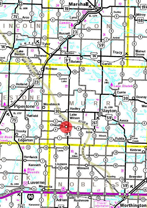Minnesota State Highway Map of the Chandler Minnesota area
