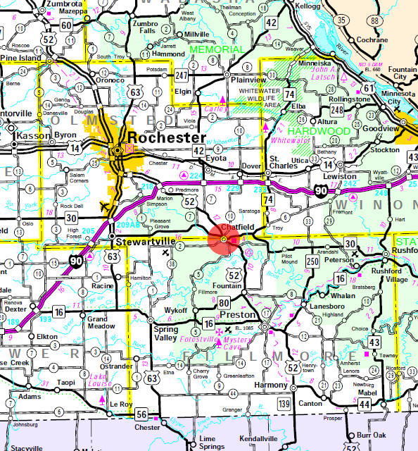 Minnesota State Highway Map of the Chatfield Minnesota area