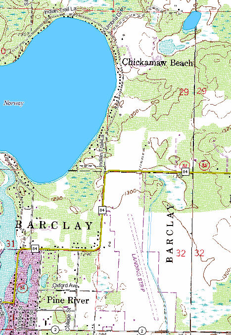 Topographic Map of the Chickimaw Beach Minnesota area