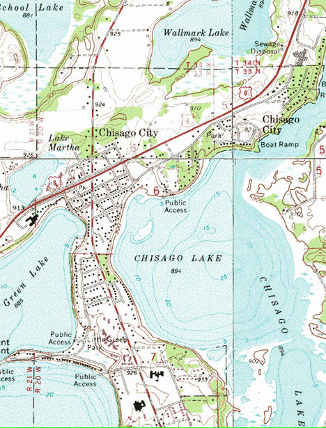Topographic map of the Chisago City Minnesota area