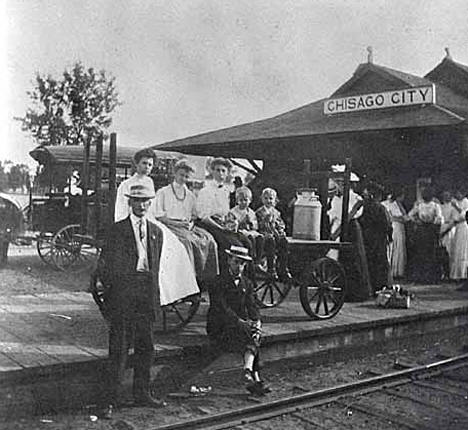 Chisago City train depot, Chisago City Minnesota, 1906