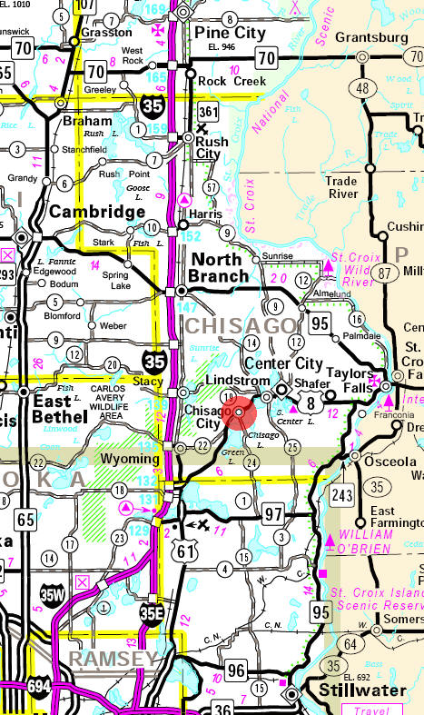 Minnesota State Highway Map of the Chisago City Minnesota area