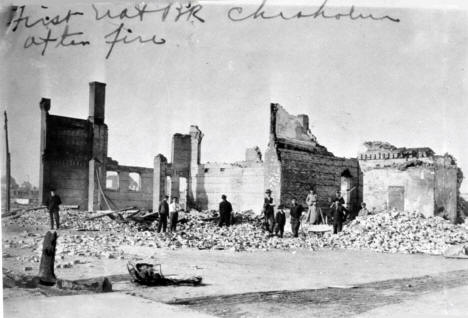 First National Bank, after the fire, Chisholm Minnesota, 1908