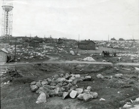 Construction of Memorial Park in 1934 Chisholm showing water tower