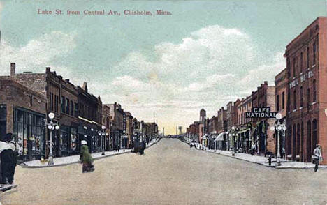 Lake Street from Central Avenue, Chisholm Minnesota, 1910