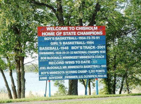 Chisholm Sports Sign at Trout Lake, Chisholm Minnesota