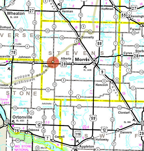 Minnesota State Highway Map of the Chokio Minnesota area
