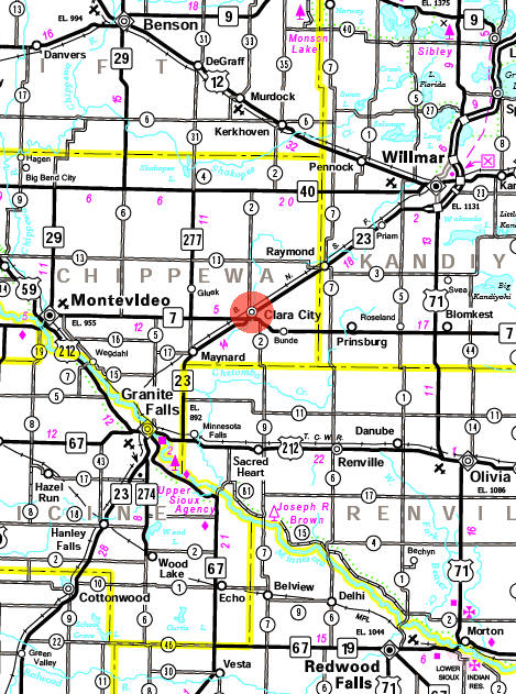 Minnesota State Highway Map of the Clara City Minnesota area