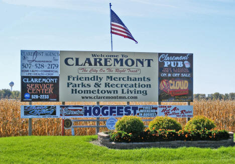 Welcome sign, Claremont Minnesota, 2010