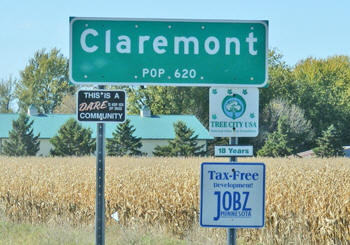 Claremont Minnesota population sign