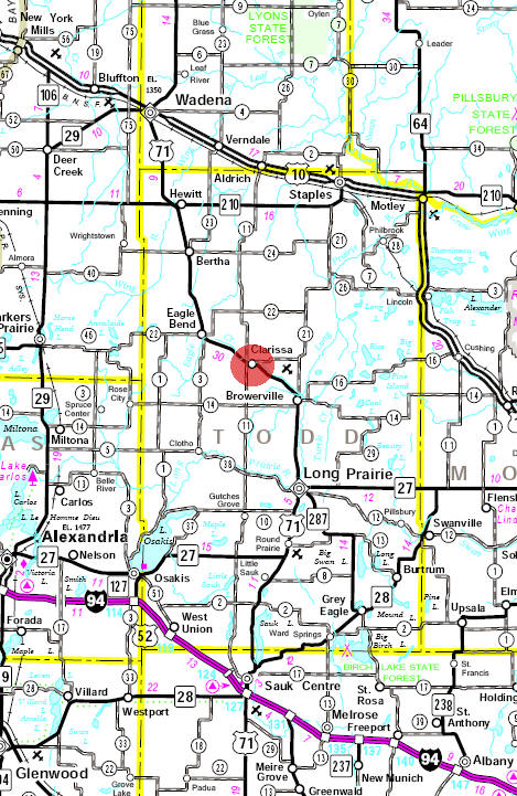 Minnesota State Highway Map of the Clarissa Minnesota area