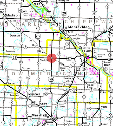 Minnesota State Highway Map of the Clarkfield Minnesota area