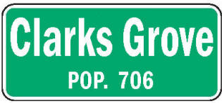 Clarks Grove Minnesota population sign