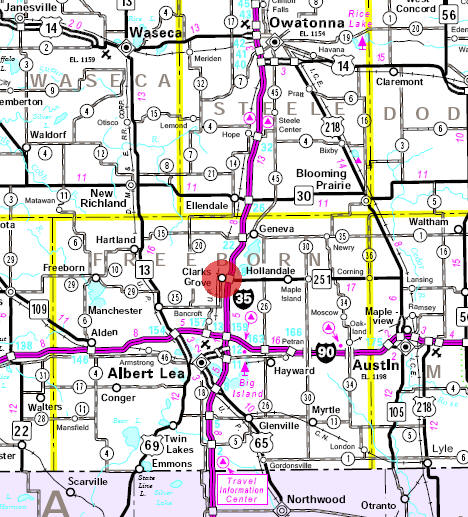 Minnesota State Highway Map of the Clarks Grove Minnesota area