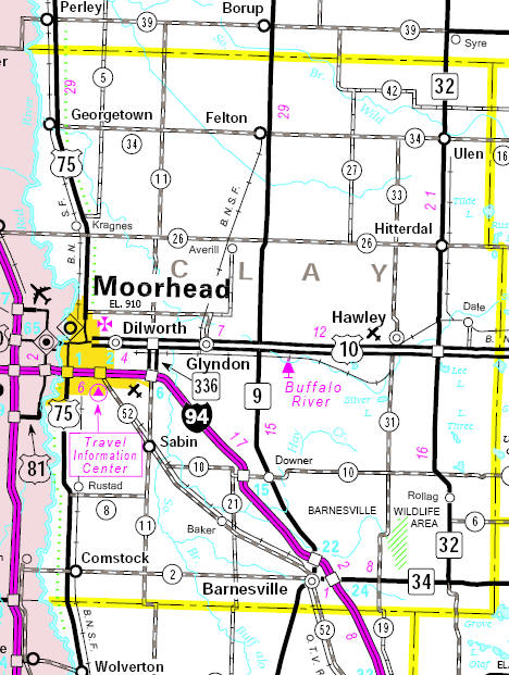 Minnesota State Highway Map of the Clay County Minnesota area