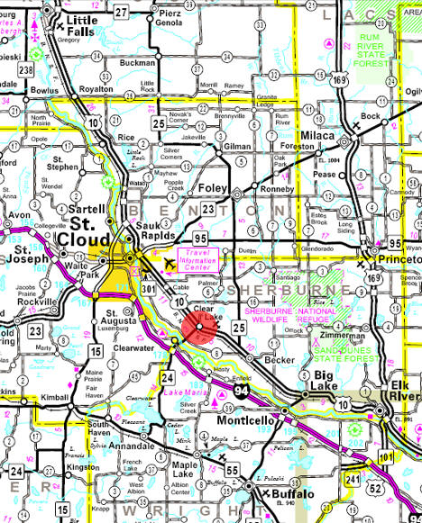 Minnesota State Highway Map of the Clear Lake Minnesota area