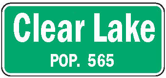Clear Lake Minnesota population sign