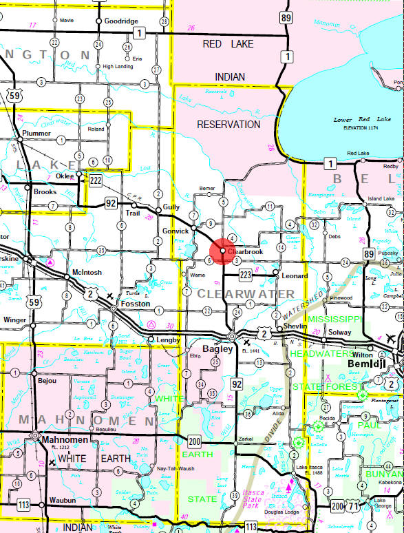 Minnesota State Highway Map of the Clearbrook Minnesota area