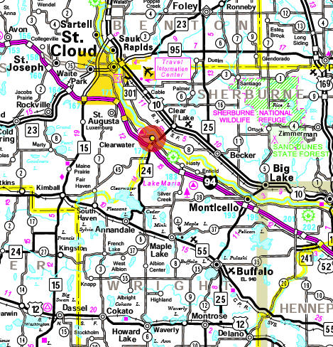 Minnesota State Highway Map of the Clearwater Minnesota area