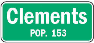 Clements Minnesota population sign