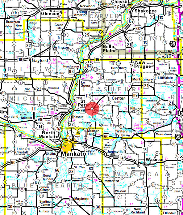Minnesota State Highway Map of the Cleveland Minnesota area