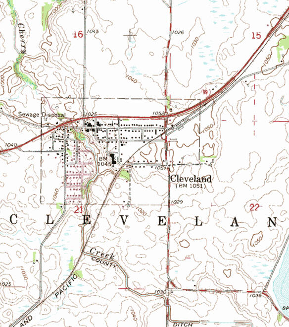 Topographic map of the Cleveland Minnesota area