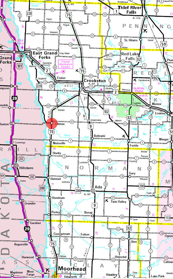 Minnesota State Highway Map of the Climax Minnesota area