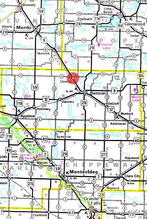Minnesota State Highway Map of the Clontarf Minnesota area