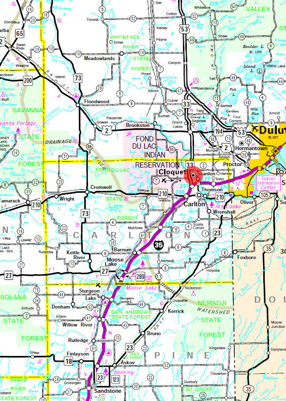 Minnesota State Highway Map of the Cloquet Minnesota area