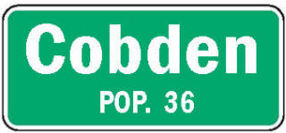 Cobden Minnesota population sign