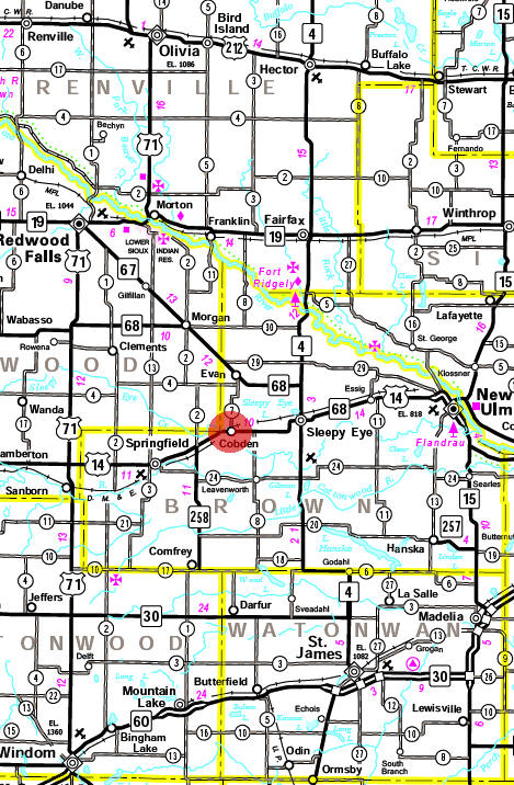 Minnesota State Highway Map of the Cobden Minnesota area