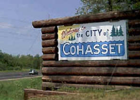 Cohasset Minnesota welcome sign