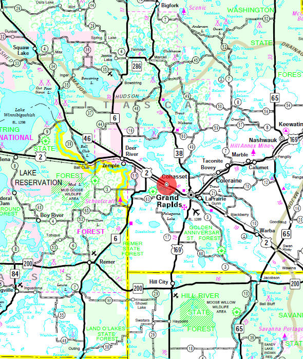 Minnesota State Highway Map of the Cohasset Minnesota area