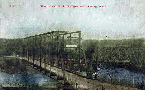 Wagon and Railroad Bridges, Cold Spring Minnesota, 1905
