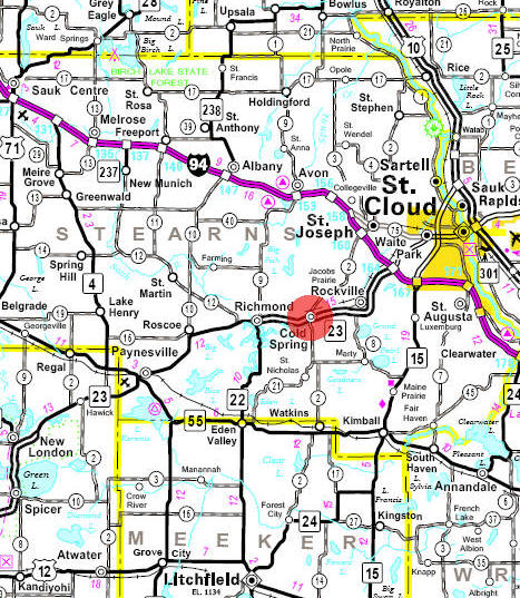 Minnesota State Highway Map of the Cold Spring Minnesota area