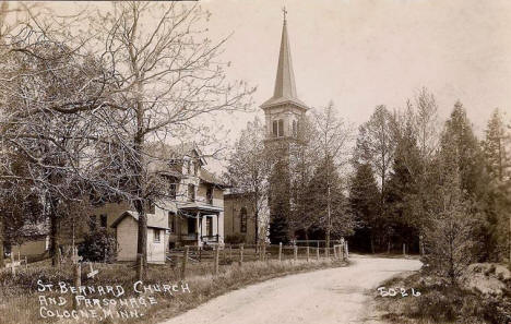 St. Bernard Church and Parsonage, Cologne Minnesota, 1910's