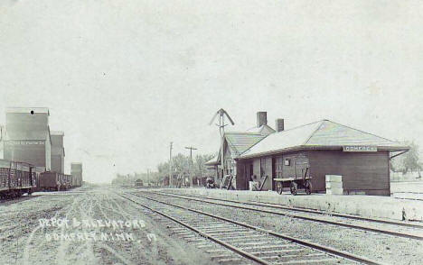 Depot and Elevators, Comfrey Minnesota, 1920