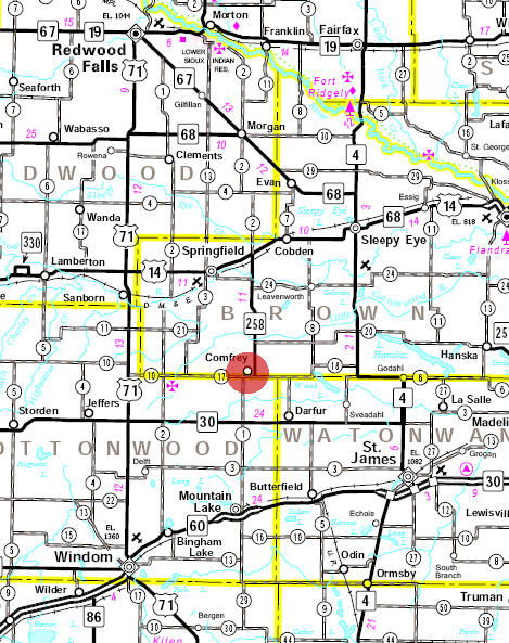Minnesota State Highway Map of the Comfrey Minnesota area