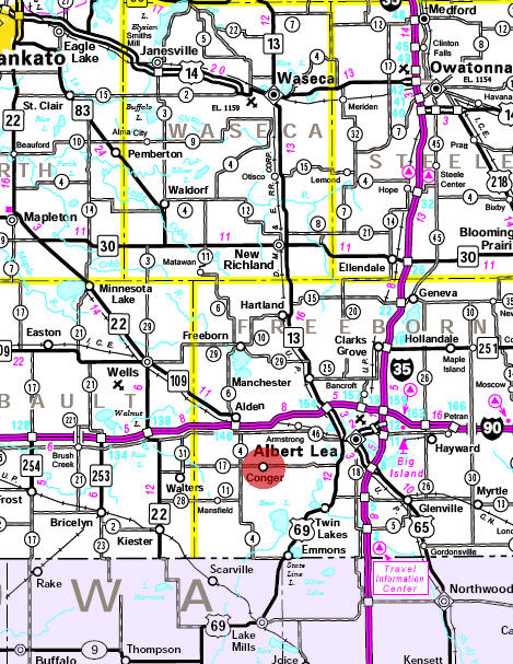 Minnesota State Highway Map of the Conger Minnesota area