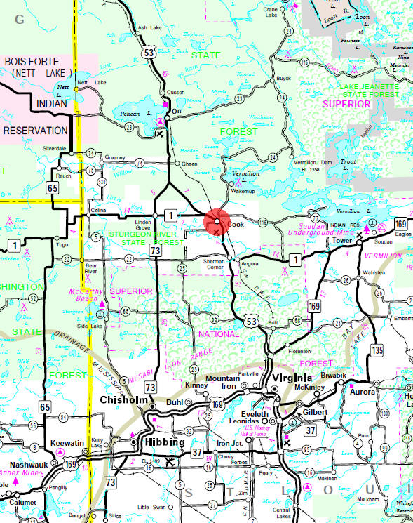 Minnesota State Highway Map of the Cook Minnesota area