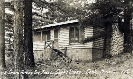 A Cabin Among the Pines, Chaps Lodge, Cook Minnesota, 1940's?