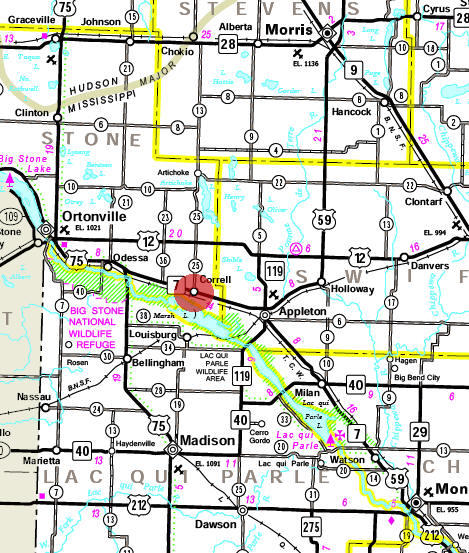 Minnesota State Highway Map of the Correll Minnesota area