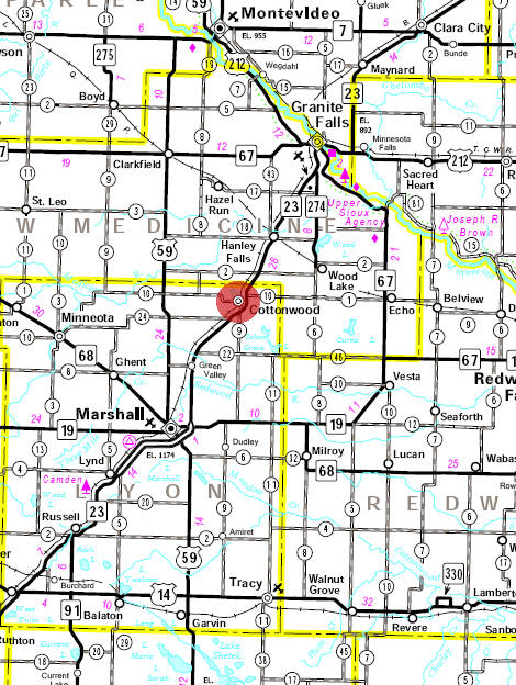 Minnesota State Highway Map of the Cottonwood Minnesota area