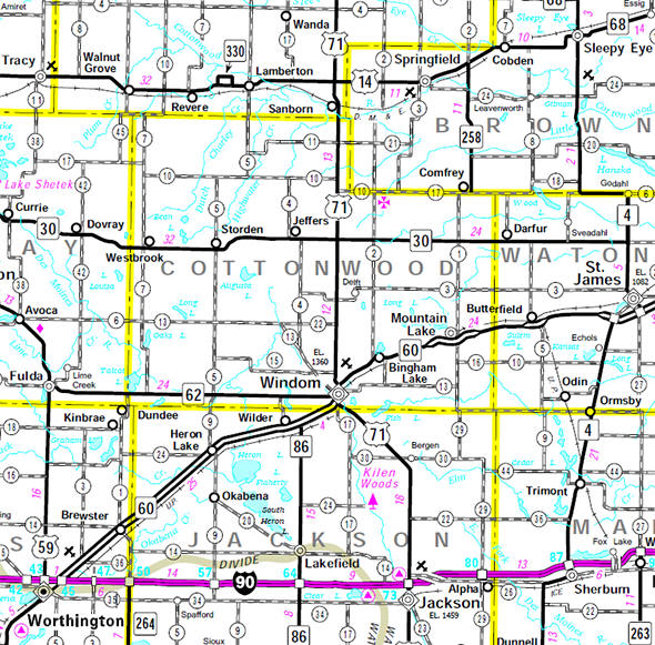 Minnesota State Highway Map of the Cottonwood County Minnesota area