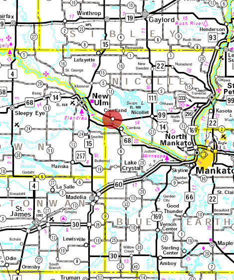 Minnesota State Highway Map of the Courtland Minnesota area