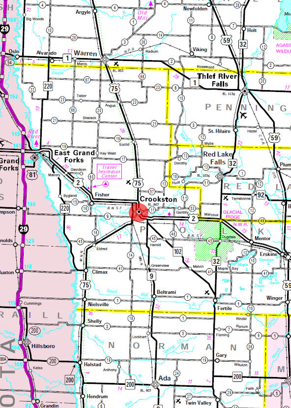 Minnesota State Highway Map of the Crookston Minnesota area