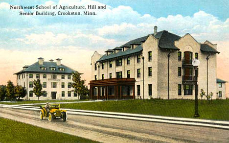 The Hill and Senior Buildings at the Northwest School of Agriculture, Crookston Minnesota, 1912
